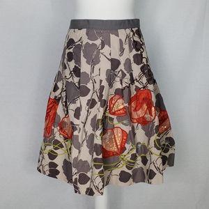 Anthropolgie Floreat Glowing Leaf Pleated Skirt M